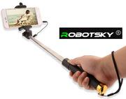 Селфи-палка монопод со шнурком,  81 см,  с силиконовой ручкой,  RobotSky